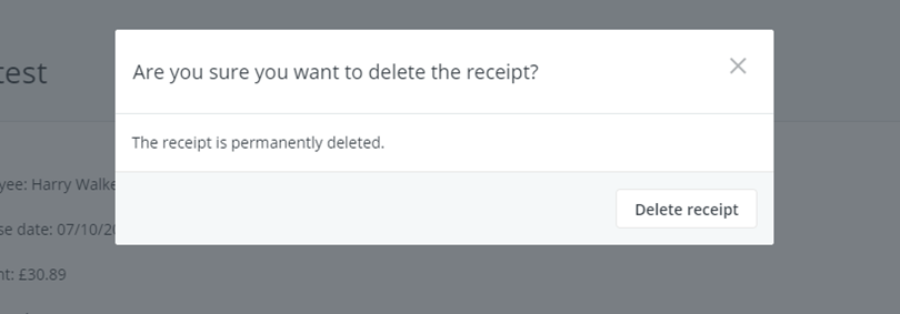 are you sure you want to delete the receipt?