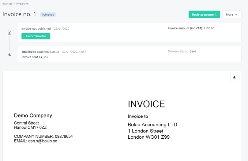 published invoice