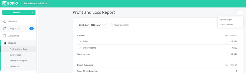 export profit and loss report
