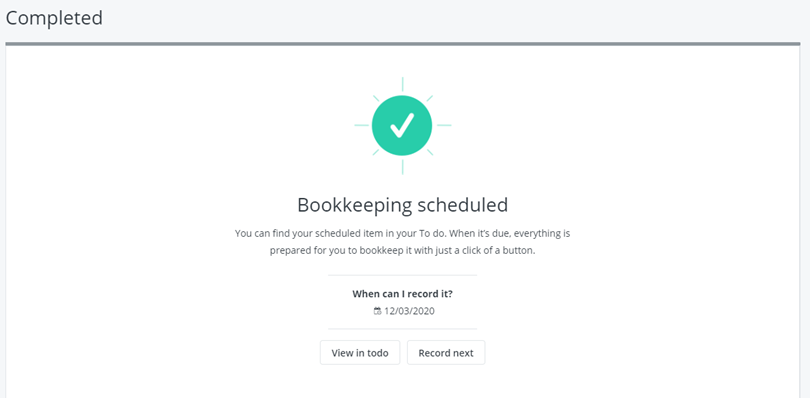 bookkeeping scheduled