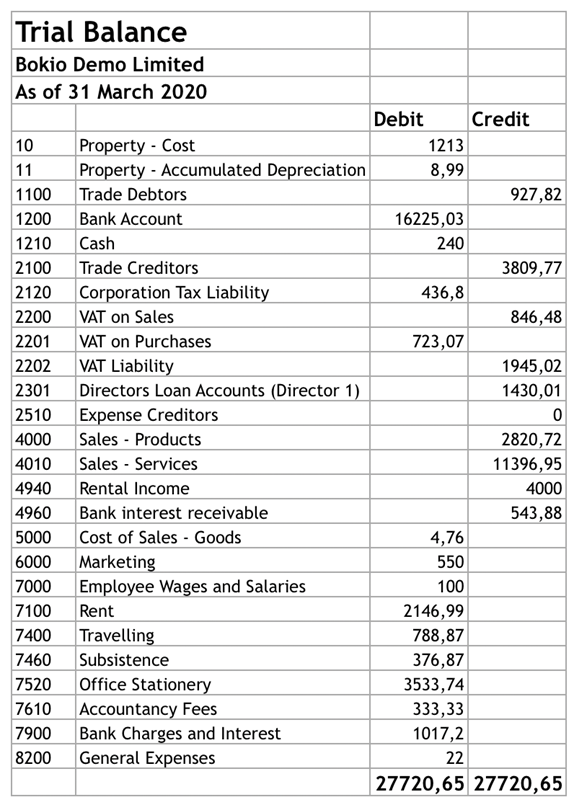 trial balance report in Excel