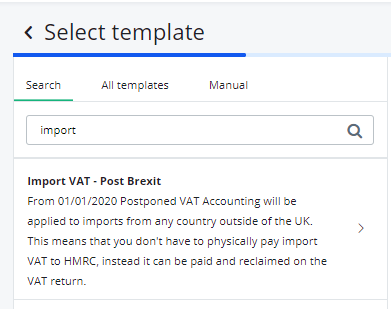 select import VAT template