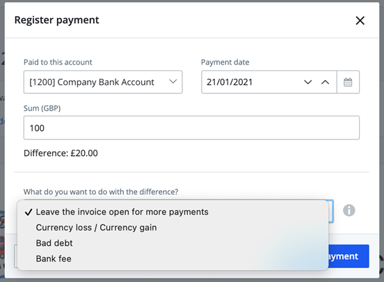 register payment difference