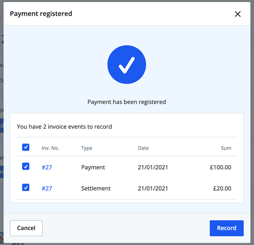 payment has been registered